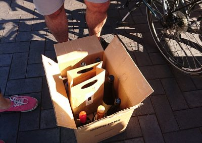 Box of wine purchased by couple on BBWCT at Steins