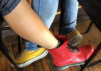 Colourful shoes on girls having beer at Steins BBWCT